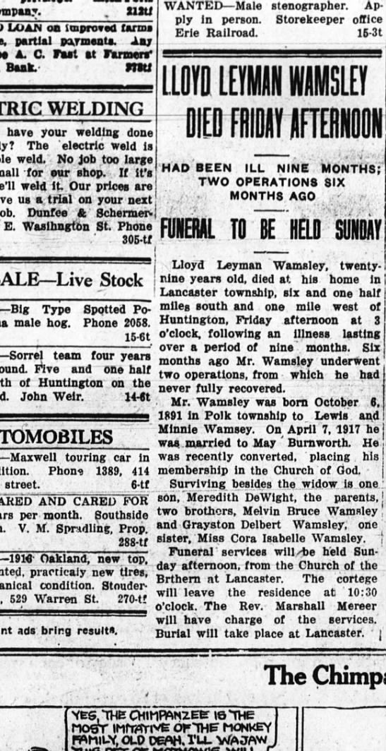 Lloyd Wamsley Obit 24 Jan 1920 - company. . xilti LOAN on improved farma partial...
