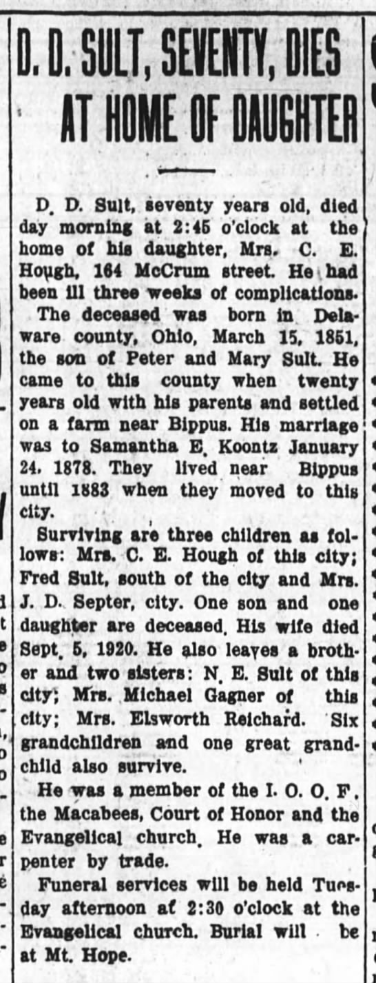 D.D. Sult obit 5 dec 1921, 164 McCrum - D. D. SUIT. SHEIK, OIB ' IT HOME OF MUGHTEfl D....