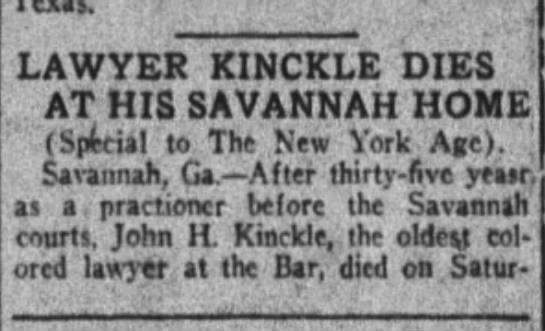 John H Kinckle dies in Savannah - LAWYER KINCKLE DIES AT HIS SAVANNAH HOME...