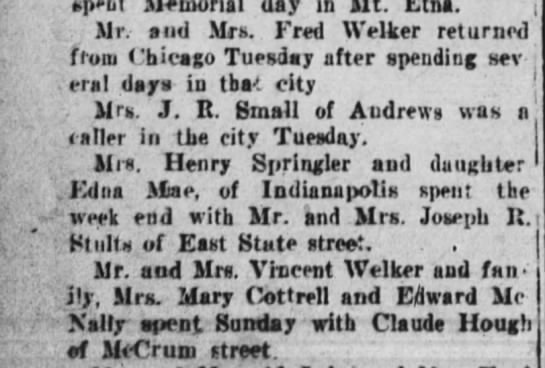 1 Jun 1927 Welker - day Mr. and Mrs. Fred Welker returned from...