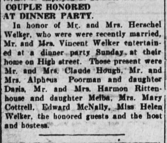 6 july 1927 welker - COUPLE HONORED AT DINNER PARTY. In honor of...
