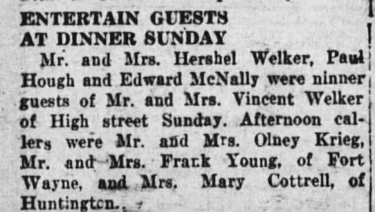 16 aug 1927 welker - ENTERTAIN GUESTS AT DINNER SUNDAY Mr. and Mrs....