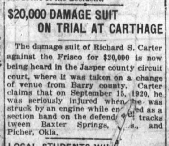 "richard s. carter suit - $20,000 DAMAGE SUIT ;1 ON TRIAL"" AT CARTHAGE..."
