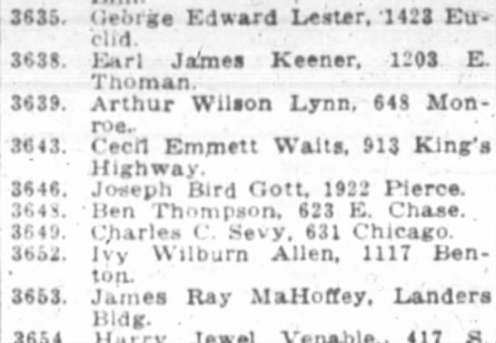Charles Chauncey Sevy Draft published in Springfield Leader Newspaper - 3(35. (iemga Edward Leatr, 1421 Euclid. 3(38....