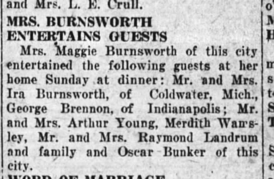 13 mar 1928 young - and Mrs. L. E. Crull. MRS. Bt RXSWORTH...