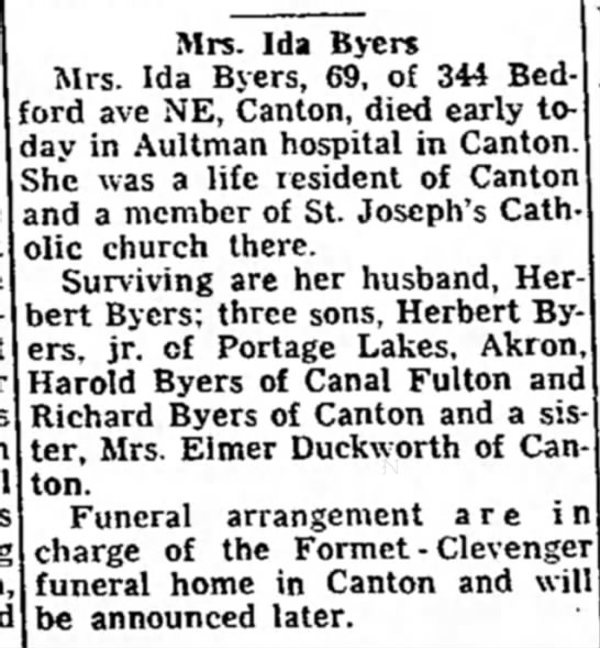 Ida Hufler obituary in The Evening Independent, Massillon, Ohio, 24 September 1955 on page 2