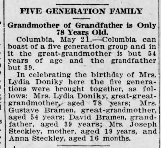 - FIVE GENERATION FAMILY Grandmother of...