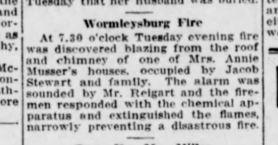 Worm 12-10-30 fire - and - as Mc - Wormleysburg Fire At 7.S0 o'clock...