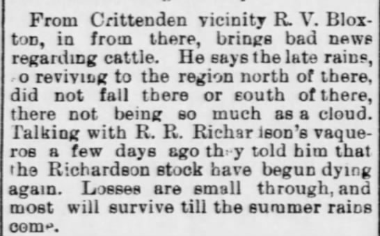 AZ WC (Tucson), Pg 4 - June 10, 1893 - RVB - Crittenden area no rain - From Crittenden vicinity R. V. Blox-ton,...