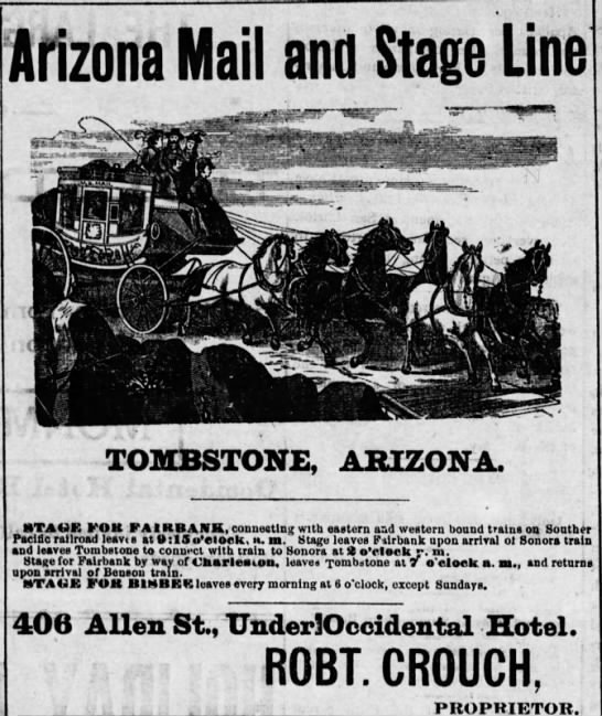 Stage coach ad - Arizona Mail and Stage Line TOMBSTONE, STAUE...