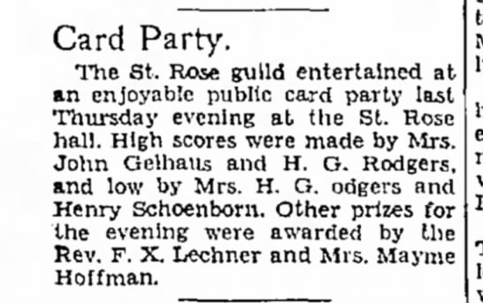 Montana Butte Standard, 18 Dec 1932 - Card Party. The St. Rose guild entertained at...