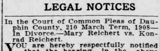 Mary's divorce? - LEGAL NOTICES In the Court of Common Pleas of...