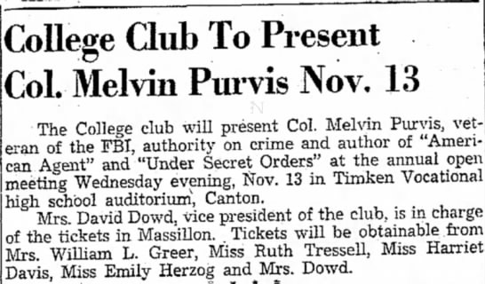 - College Club To Present Col. Melvin Purvis Nov....