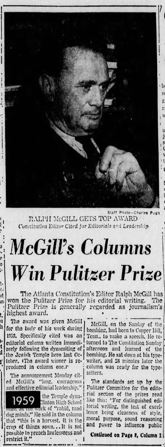 "The Atlanta Constitution awarded Pulitzer  prize - i 1 ! . Ins--.tim-niy ; i !U.MM""""; ' . ; 1 i i..."