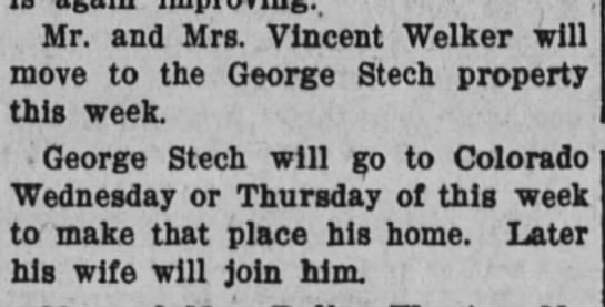 29 Mar 1911 welker - Mr. and Mrs. Vincent Welker will move to the...