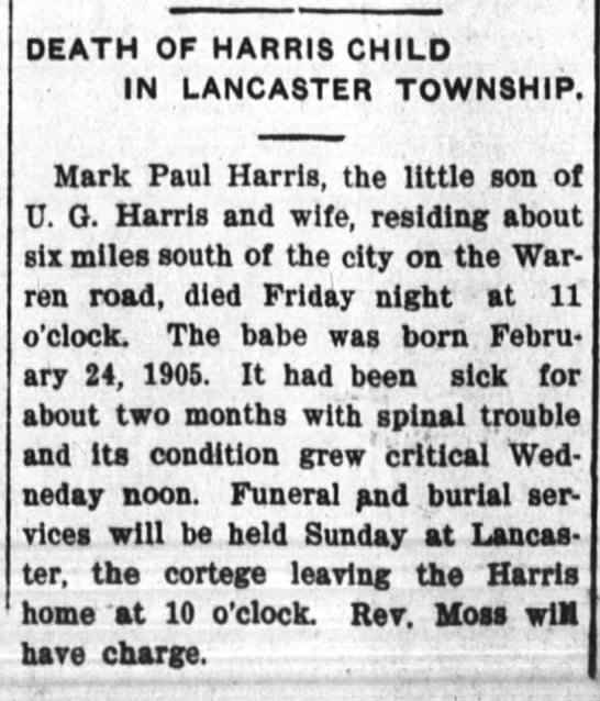 Mark Paul Harris obit - DEATH OF HARRIS CHILD IN LANCASTER TOWNSHIP,...