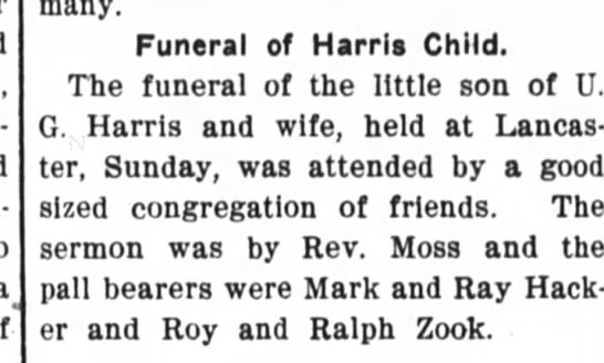 male Harris child obit 18 sept 1905 - - many. Funeral of Harris Child. The funeral of...