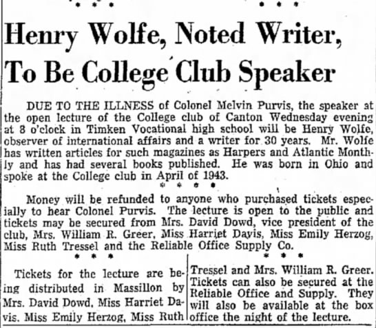 Massillon, Ohio, The Evening Independent, Tuesday, November 12, 1946 - 3enry Wolfe, Noted Writer. To Be College Club...