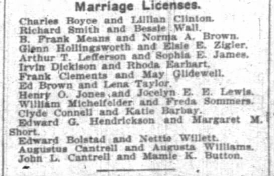 Rhoda Earhart Irv Dickison - Marriage License. Charles Bore and IJIItan j...