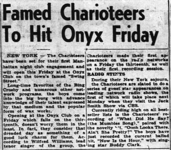 "Charioteers - ""1 ... Ony x IFri day KEW YORK - The..."