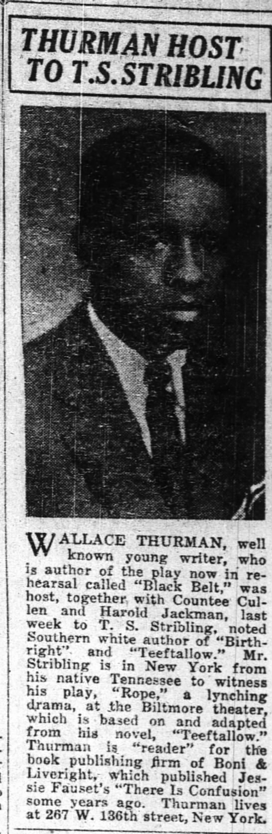 - r : ' . THURMAN HOST - TO T.S.STRIBLING .. in...