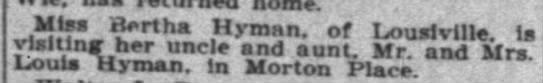 "Indianapolis News 17 Aug 1905 p7 col4 - i!!fJf - B'rtha .""yn - xn. f Louslville. Is T!f..."