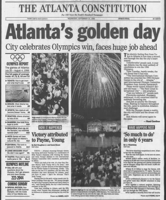 Atlanta wins bid for Summer Olympics - THE ATLANTA CONSTITUT ION For J 22 Year the...