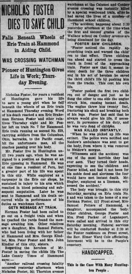 Nick Foster Obit 16 Dec 1911 - NICHOLAS FOSTER DIES TO SI CHILD Falls Beneath...