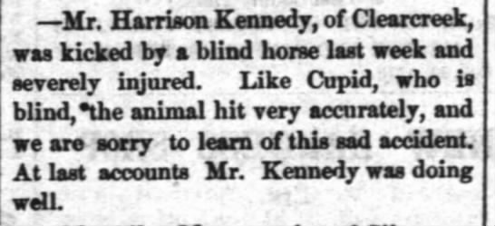 Kennedy kicked by horse 17 may 1876 - Mr. Harrison Kennedy, of Clearcreek, was kicked...