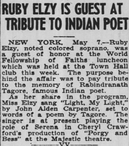 - RUBY ELZY IS GUEST AT TRIBUTE TO INDIAN POET...