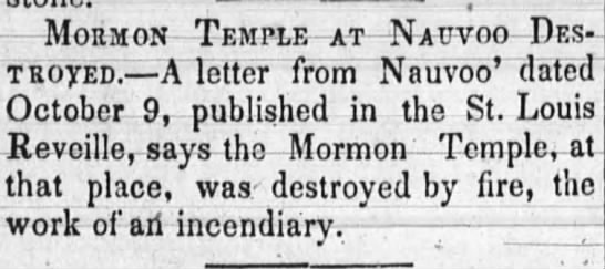 Mormon Temple at Nauvoo Destroyed - Mohmon - Temple - at Natjvoo - Pes' t royed. A...