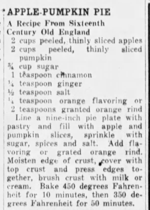1941: Apple-pumpkin pie