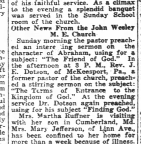 martha ruffner visits son in Cumberlan 1923 - of his faithful service. As a climaT to the...