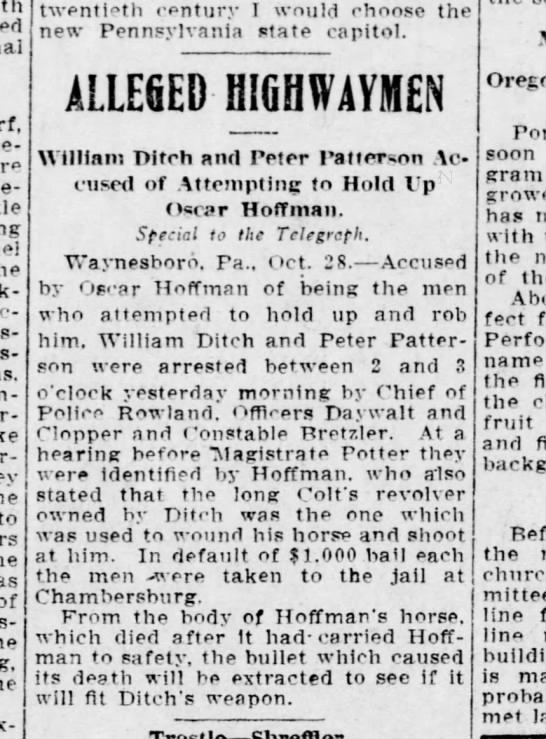 1909 October 28 Peter Patterson arrested - - to of twentieth century I would choose the...