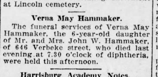verna may hammaker daugher of John w  1909 - at Lincoln cemetery. Verna May Hanimaker. The...