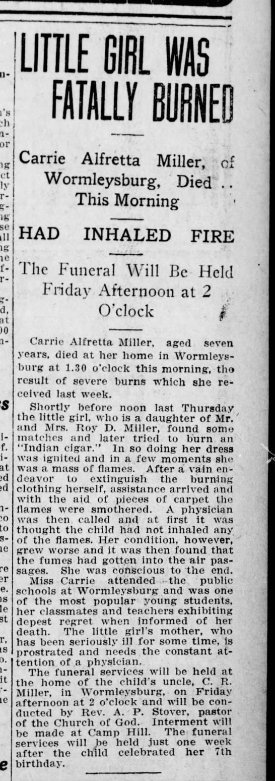 Worm 09-12-8 girl dies from burns - at LIIILE 61 IS ma en Carrie - Alfretta Miller,...