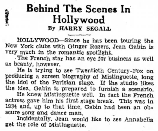 GABIN - 9 - Behind The Scenes In Hollywood By HARRY SEGALL...