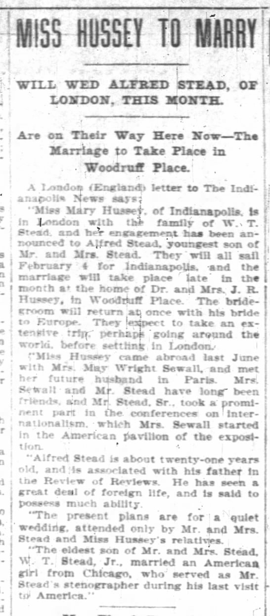 "19010213newsp14 wp woodruff hussey 735w 30w stead engagement paris london - t M1S5 - - HQSSEY TO WM - ; - ""WTXIi WED..."