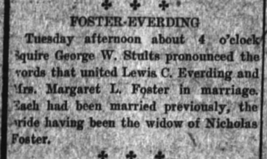 Nicholas Foster widow remarries Everding 11 Jun 1913 - 'ti FOSTER - EVEBDINO Tuesday .afternoon about...