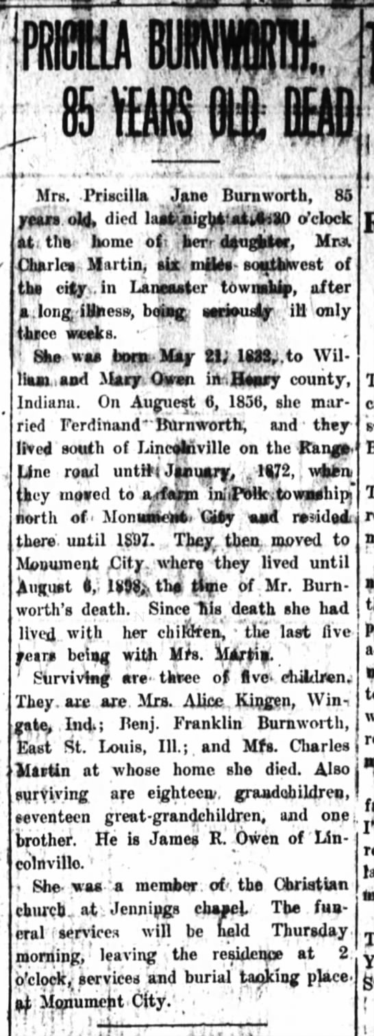Pricilla Owen Burnworth Obit 8 May 1918 - . p Mrn. Priscilla Jane Burn worth, 85 rmt.old,...