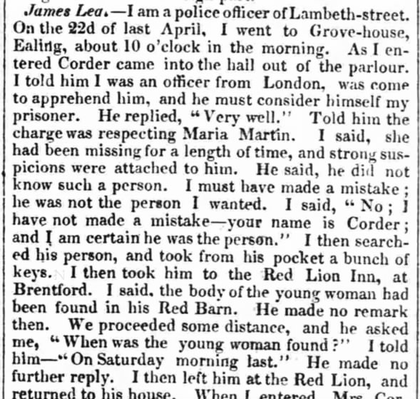 William Corder's arrest, claimed he did not know Maria Marten