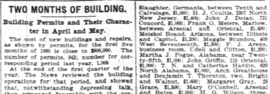 Building permit for 721 Concord matches 1900 census - TWO MONTHS OF BUILDING i i - Building Permits...