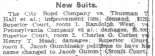Randolph West vs Pennsylvania Company 12 Jan 1903 - New Suits. TUa City Bond Company vs. Thurman Tl...