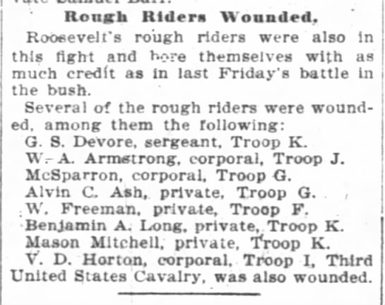 - Rough Riders Wounded, Roosevelt's rough riders...