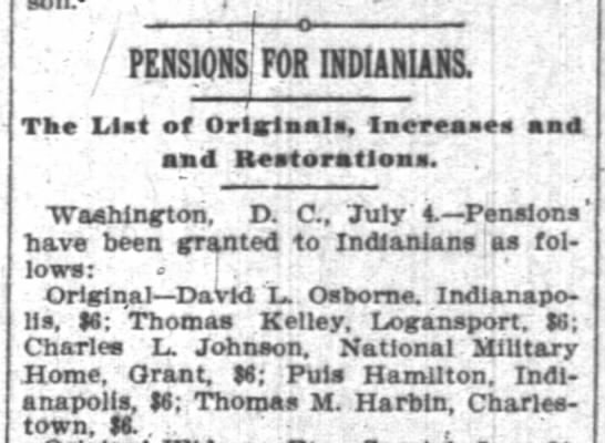 Pension announcement for DLO. - son. o PENSIONS FOR INDIANIANS. ; - i The List...