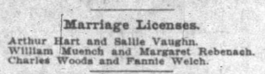 - Marriage licenses - Arthur Hart and Ballle...