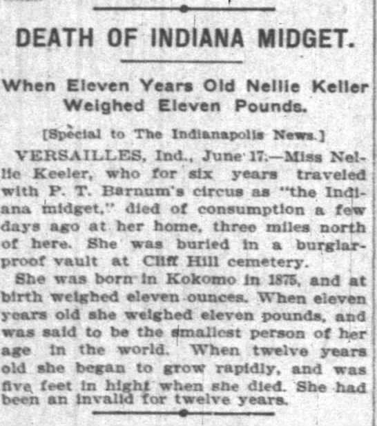 Nellie Keeler - Death of - article - DEATH OF IND.ANA MIDGET. When Eleven Years Old...