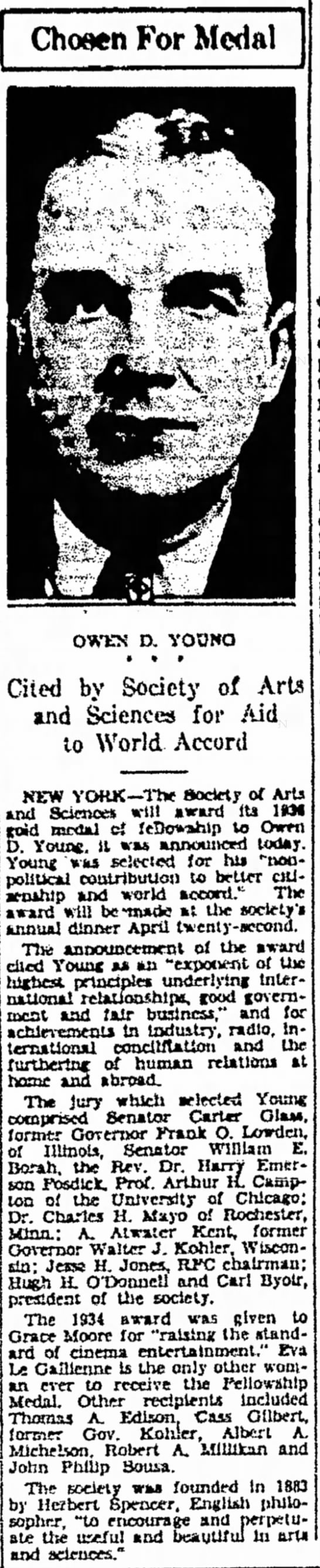 Middletown Times Herald (Middletown, New York) 17 March 1936  Page 7 - Choaen For Modal **» ti* ^ Time D. VOOWG Cited...