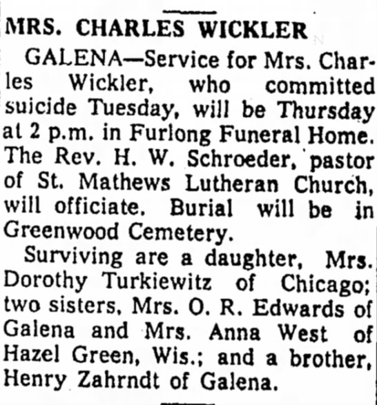 - MRS. CHARLES WICKLER GALENA—Service for Mrs....