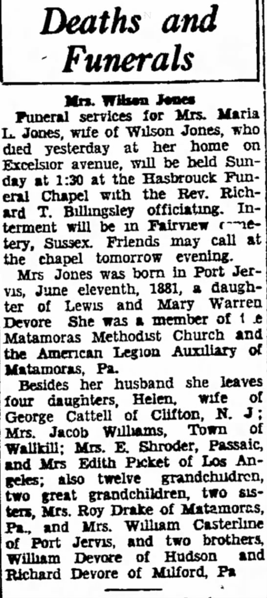 Obit of Maria DeVore, date of death, Dec. 08, 1938